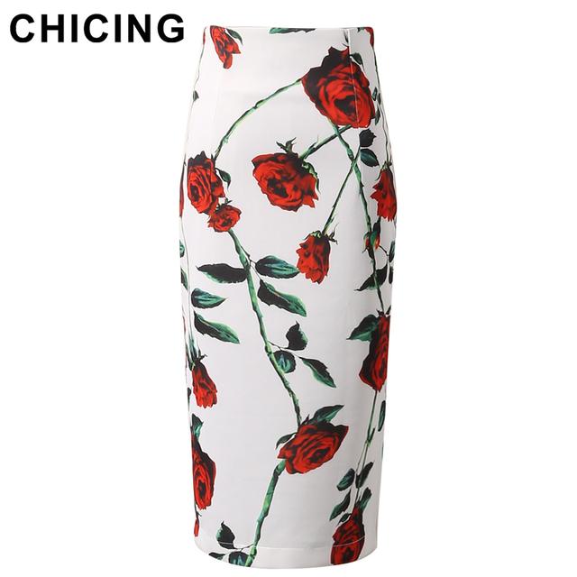Chicing 2016 карандаш женские юбки розы цветочный принт высокая талия назад раскол ...