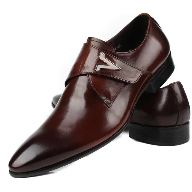 New Menu0026#39;s Business Work Genuine Leather Wing Tip Slip On Casual Dress Shoes Eur Sizes 37 To 44 ...