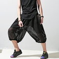 Summer personality the trend of casual capris gauze transparent stripe faux two piece culottes dj dance