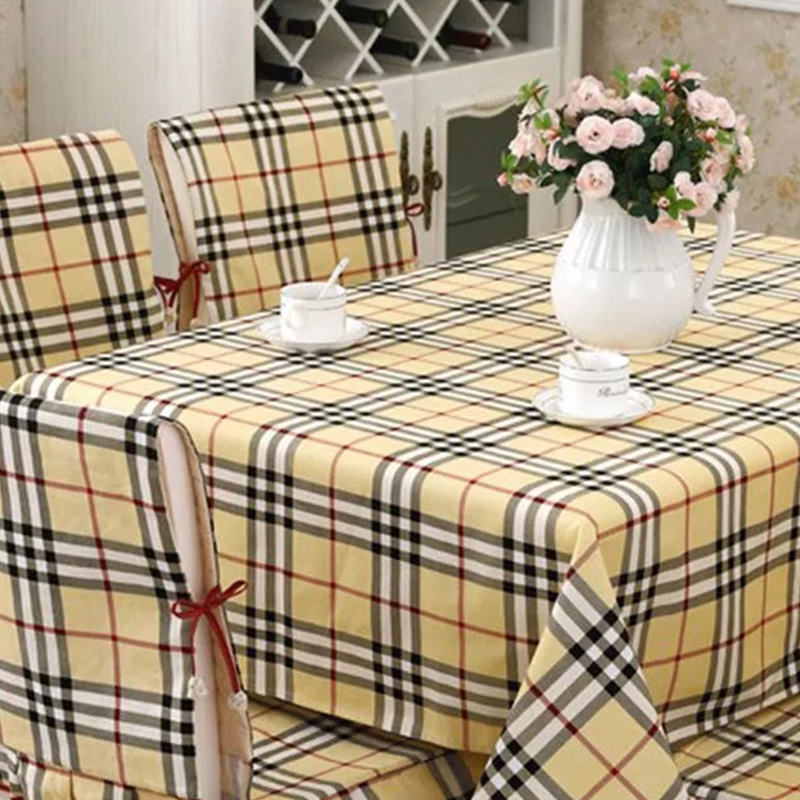 Beige plaid linen tablecloths quality thicken cotton table cover British traditional Plaid tablecloths wedding/banquet textile(China (Mainland))