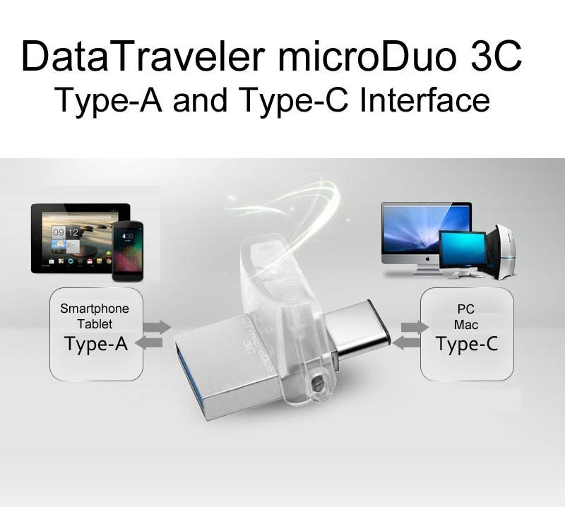 Kingston OTG Type C usb 3.0 3.1 flash drive pen drive 16gb 32gb 64gb Smartphone Mac cle usb stick mini chiavetta gift memoria C