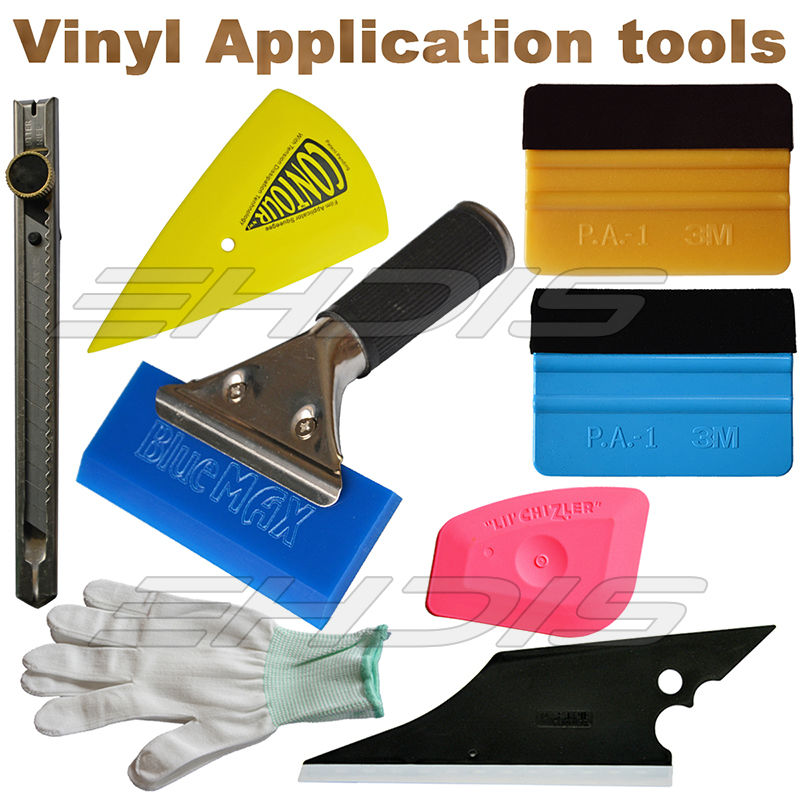 Buy 8 IN 1 Vinyl Installation Car Wrapping Tool kit 3M Felt Squegee Knife Glove Rubber Squeegee for Window Tint Tool cheap