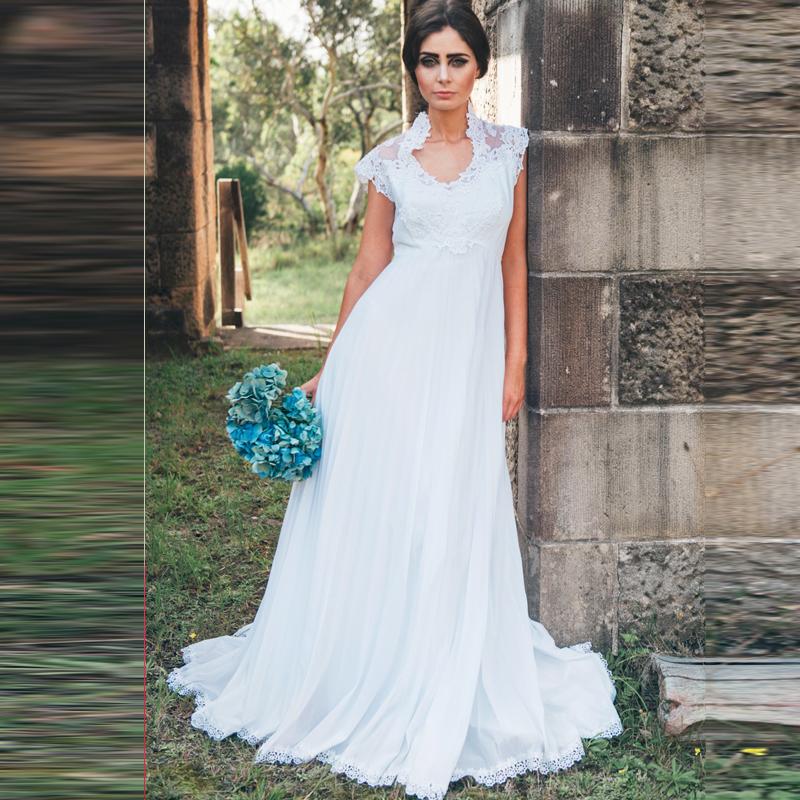 Bohemian Pregnant Maternal Wedding Dresses 2016 Cap Sleeve Empire Lace Applique Plus Size Bridal Gowns(China (Mainland))
