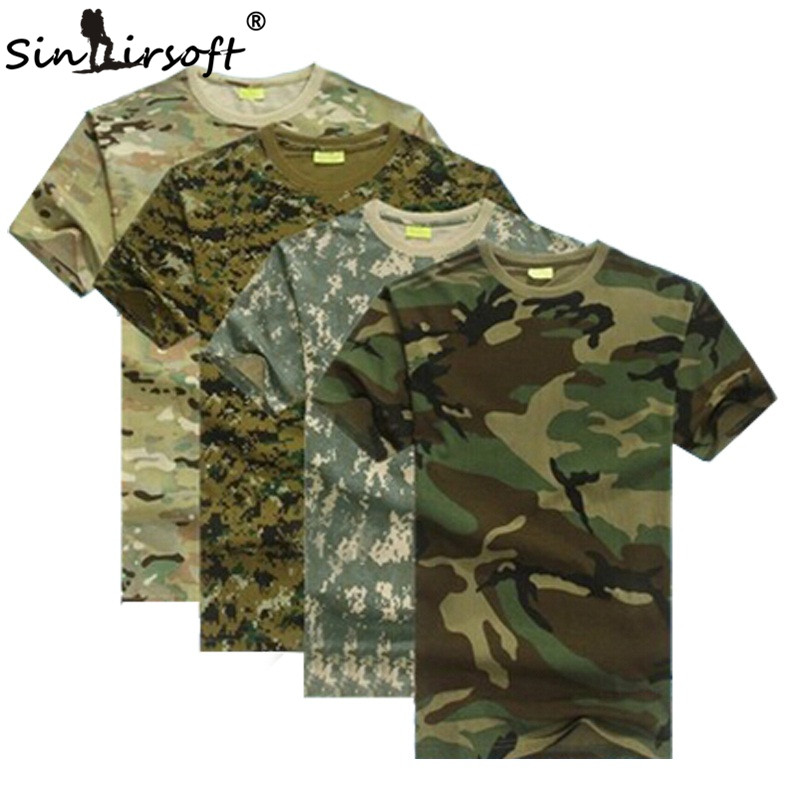 Outdoors Hunting Camouflage Men TShirt Breathable Army Tactical Combat Military Dry Sport Camo Outdoor Camp Tees