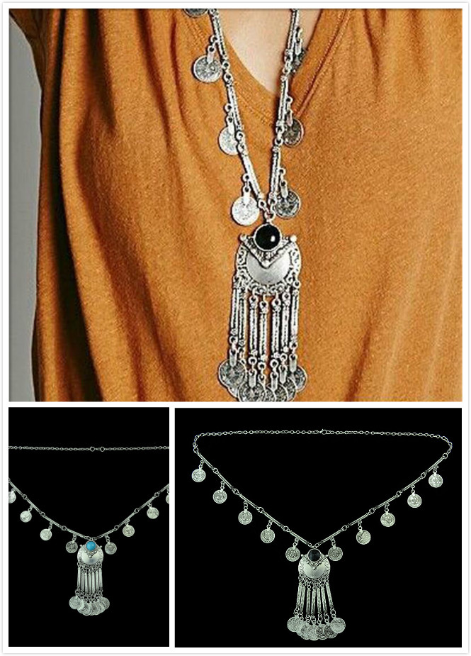 Beads Coin Fringe Necklaces Dance Bohemian Pendants Woman's Assessory Chain(China (Mainland))