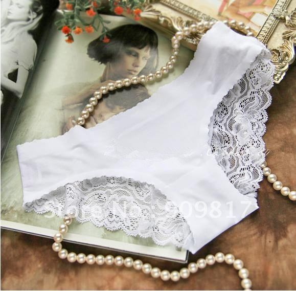 hot free shipping Sexy  lady Beautiful white lace all-match comfortable seamless low-waist panty briefs
