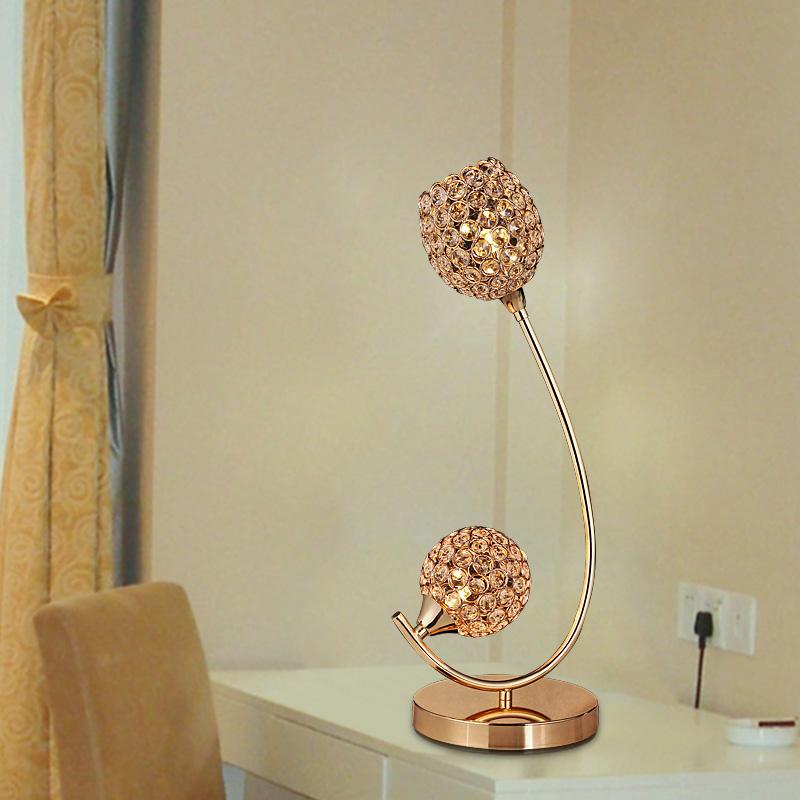 Creative gold crystal decoration table lamps desk light for home modern vintage lights sconce reading lighting(China (Mainland))