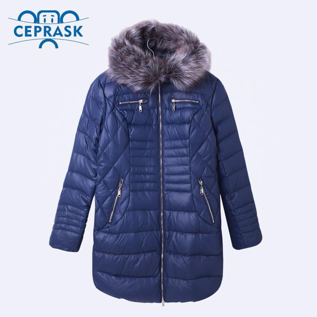 Ceprask 2016 Высокое Качество женские Зимние Утка Пуховик Плюс Размер Длинные женские Пальто Меховой Моды Теплая Куртка camperas