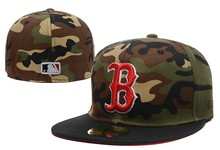 Top Quality Men's Flat Baseball Full Closed Caps Red B Logo Men's Boston Red Sox Fitted Hats Camo Style Free Shipping(China (Mainland))