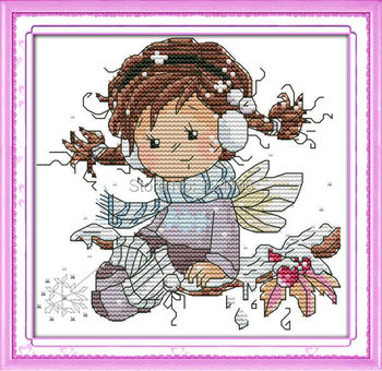Wholesale Needlework,Stitch,DIY 14CT DMC Cross Stitch,Sets For Embroidery Kits,Little Angel of Winter Counted Cross-Stitching