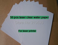 (50 pieces/lot) A4 clear/transparent laser printing water decal paper laser waterslide transfer paper(China (Mainland))