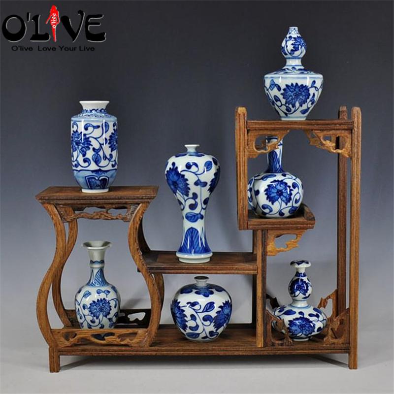 Mini Antique Vases Decoration Chinese Ceramic Blue White