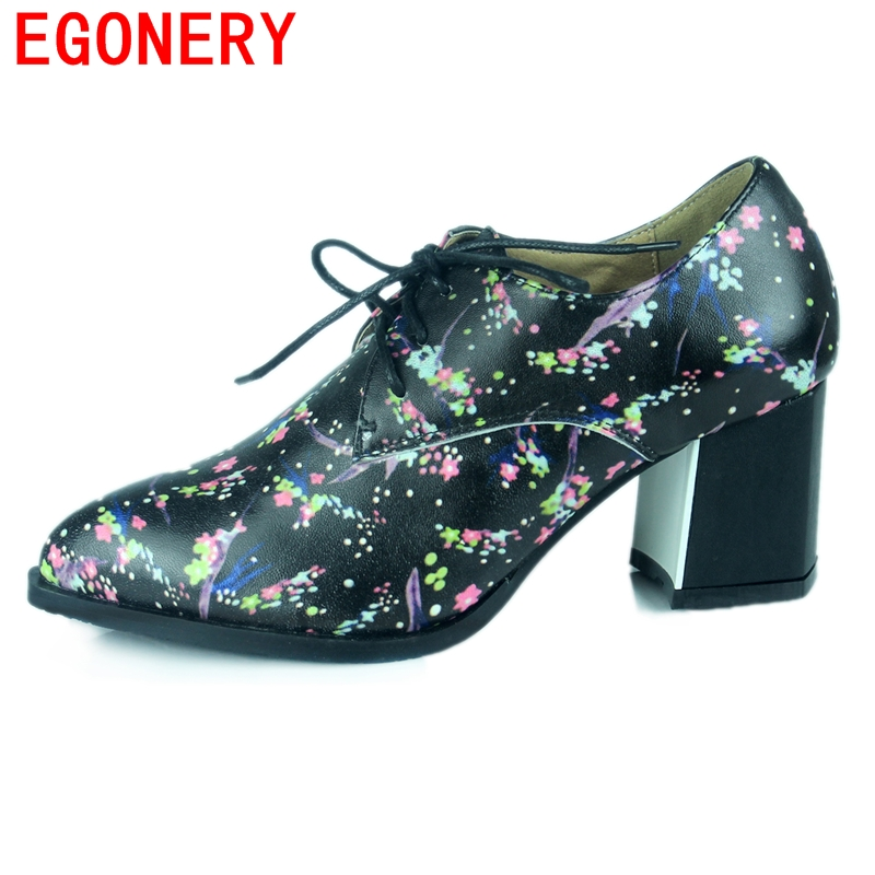 hot sale casual fashion black sheepskin shoes med square heels pointed toe mixed color printing  shoes lace-up women shoes<br><br>Aliexpress