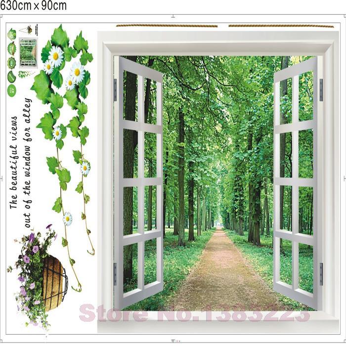 Comprar verdes bosques ventana 3d diy de for Vinilos pared aliexpress