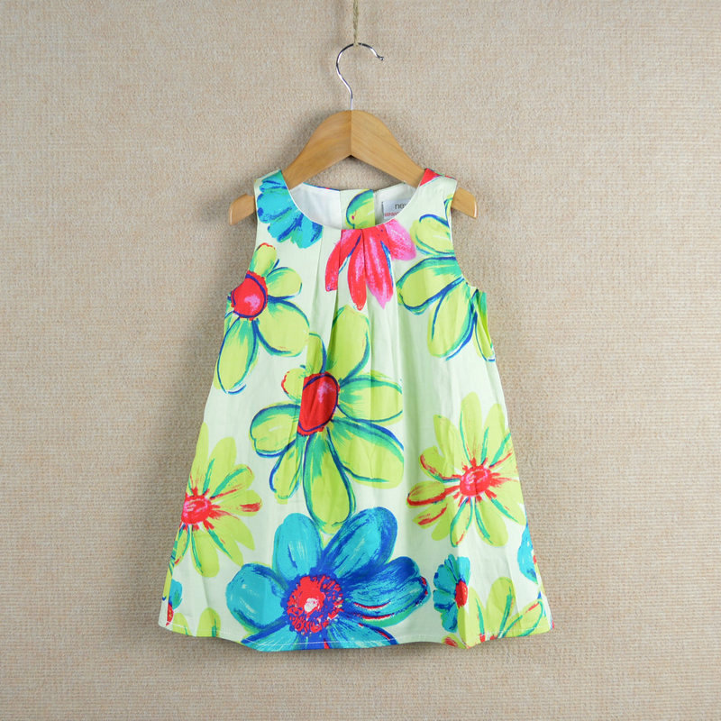 Summer floral girls dress 100% cotton flower painting print cute baby kids clothes 2 3 4 6 8 years old girl dresses - BabyTree of Anna store
