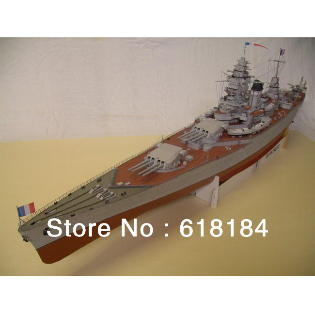 Free shipment toys new 2013 paper model battleship 107cm Long 1:200 scale French Dunkerque battle cruiser 3d puzzles for adults(China (Mainland))