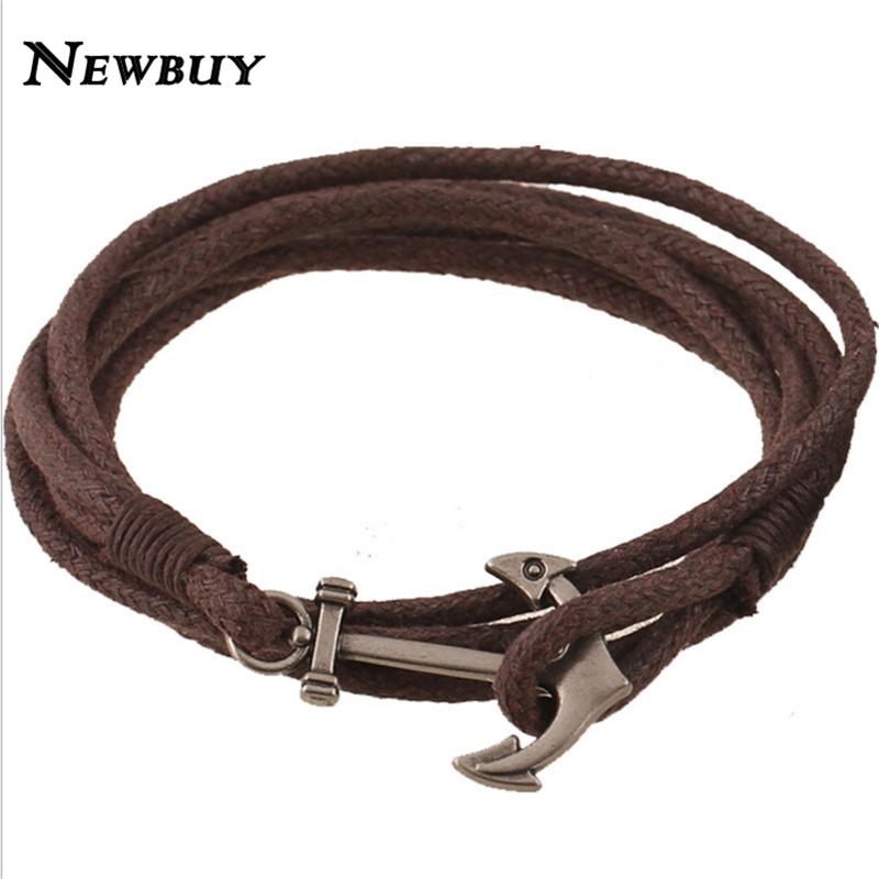 NEWBUY Handmade Braided Men Anchor Bracelet 2 Colors 43cm Anchor Charm Bracelets Jewelry For Male Vintage Design(China (Mainland))
