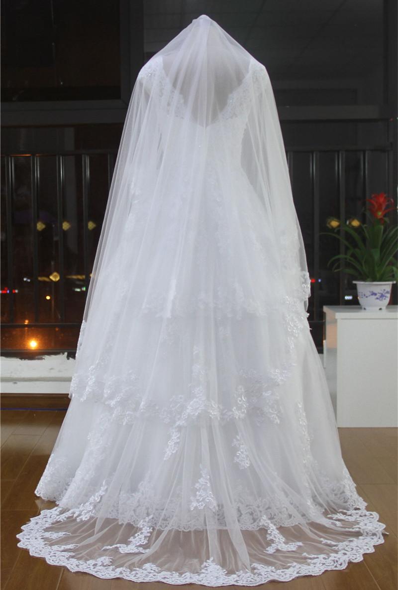 Aliexpress Buy Elegant Wedding Long Veils For Wedding Dress Wedding Veils Long Free