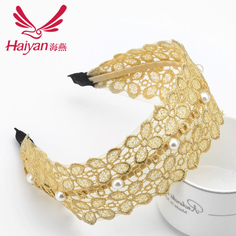 2015 Unisex Lycra Adult Active Hairbands Hot Sale Top Hair Clip Handmade Pearl Embroidery Lace Headband Hair Headdress Flower(China (Mainland))