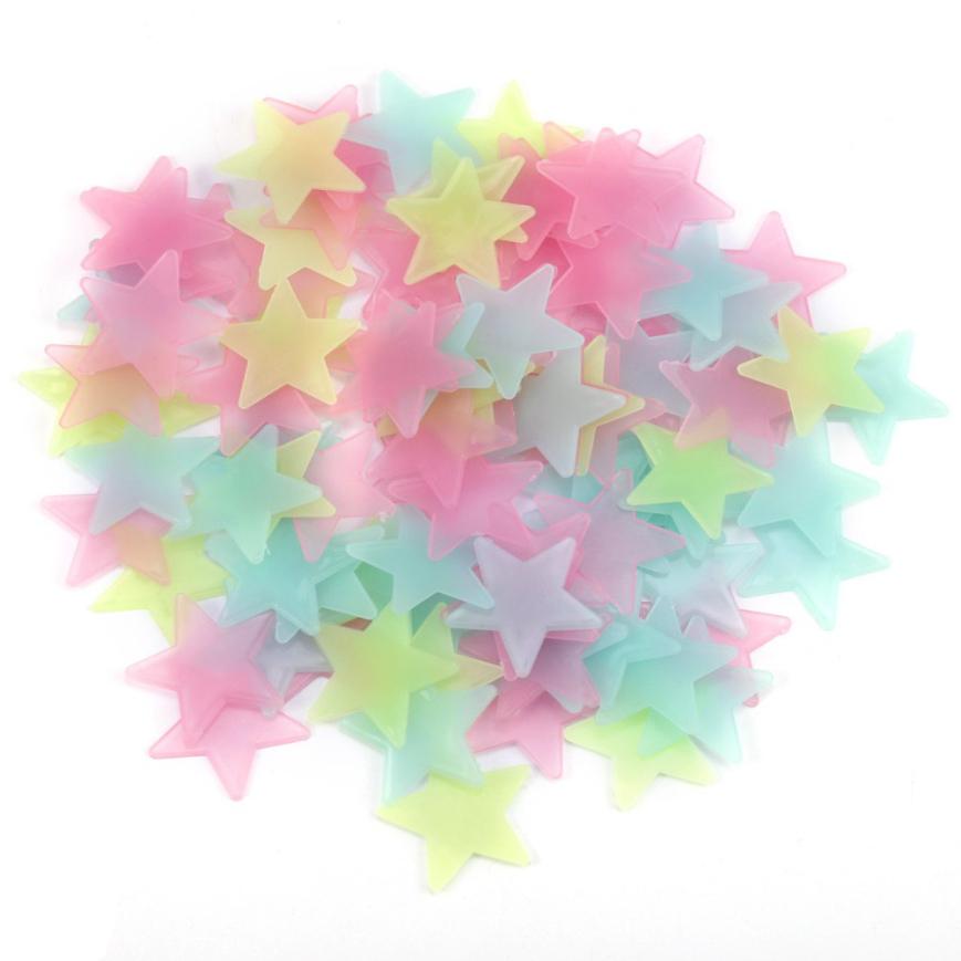 100pcs 3D Stars Glow In Dark Luminous Fluorescent Plastic Wall Sticker Home Decor Decal Wallpaper Decorative Special Festivel(China (Mainland))