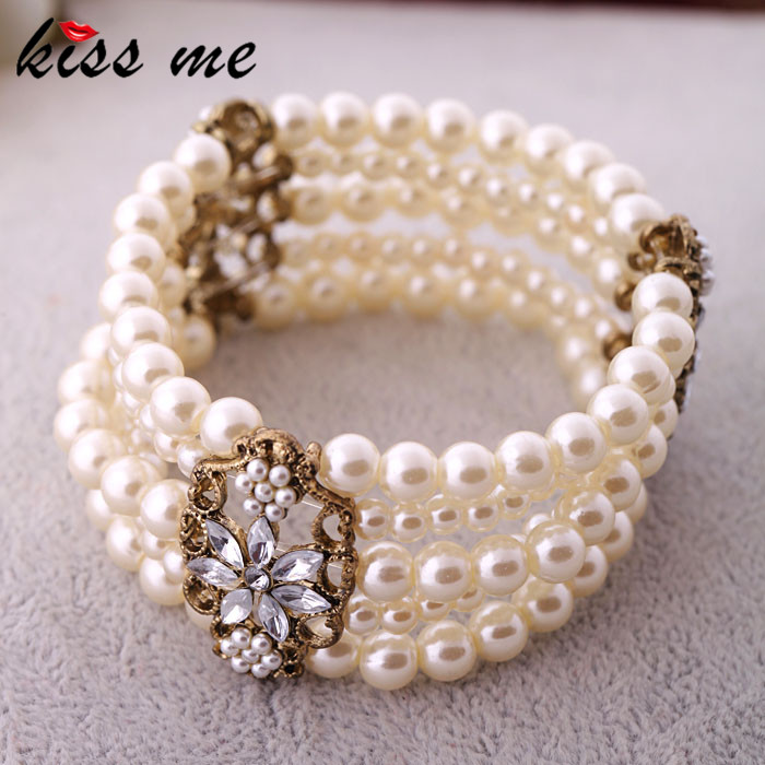 Fashion Accessories Simulated Pearl Women's Multi-layer Elastic Bracelet Bracelets & Bangles - KISS ME Official Store store