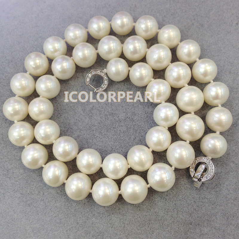 AAAA High Quality Classic 10mm Round White Real Freshwater Pearl Necklace(45cm)+ Silver Clasp With Rhinestones<br><br>Aliexpress