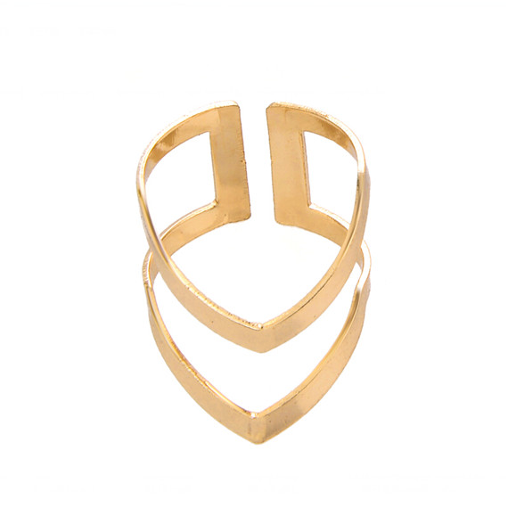 1 2016 Geometric Minimal Simple Unique Double V Shaped Rings Women Men Jewelry Gold Plated Bijoux Knuckle Ring - Show store