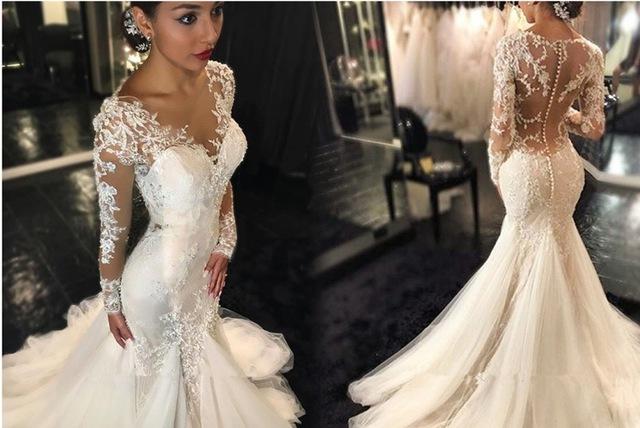 Buy mermaid trumpet wedding dresses 2016 for Trumpet mermaid wedding dress with sleeves