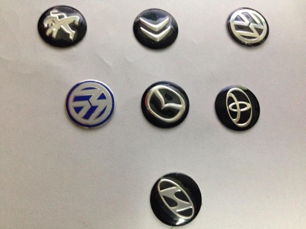 1pcs Key Fob Remote Badge Logo Emblem Sticker 14mm Hyundai Peugeot Citroen Toyota Subaru kia mazda Hyundai Car keys stickers(China (Mainland))