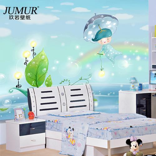 Children 39 s nursery room bedroom cozy backdrop rainbow for Rainbow wallpaper for kids room