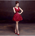 Doparty XS3 cheap plus size red champagne couture short tulle sexy elegant evening party dress wedding