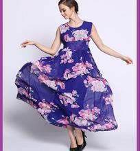 M-6XL Plus size 2016 summer women's high-end European style print chiffon dress beach dress