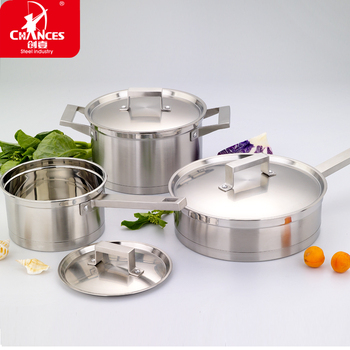 free shipping Right angle 304 stainless steel 6pcs cookware cooking pots and pans quality cookware suit induction cooker