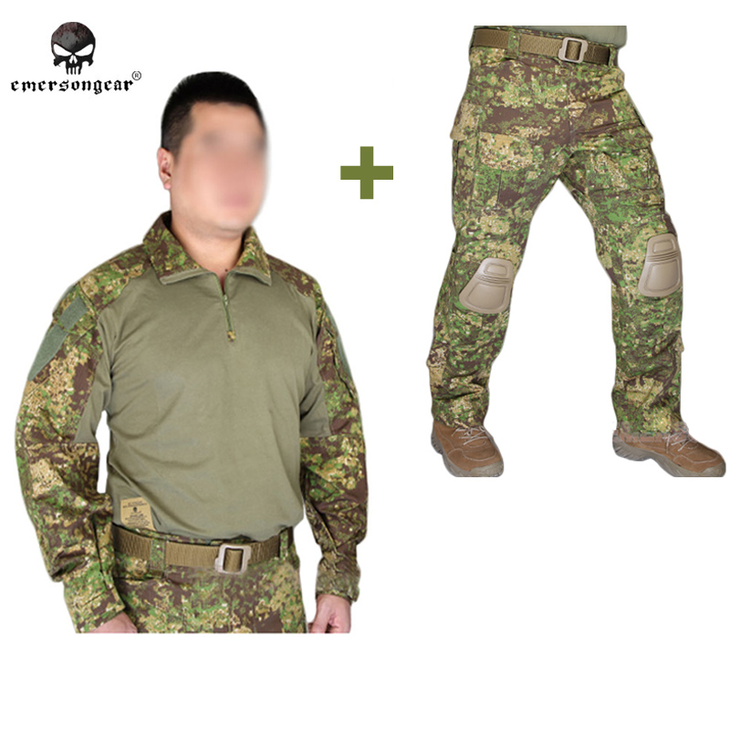 2016 NEW Emerson bdu G3 Combat uniform shirt & Pants & knee pads Military Army uniform Green Zone ghillie suit emerson gear