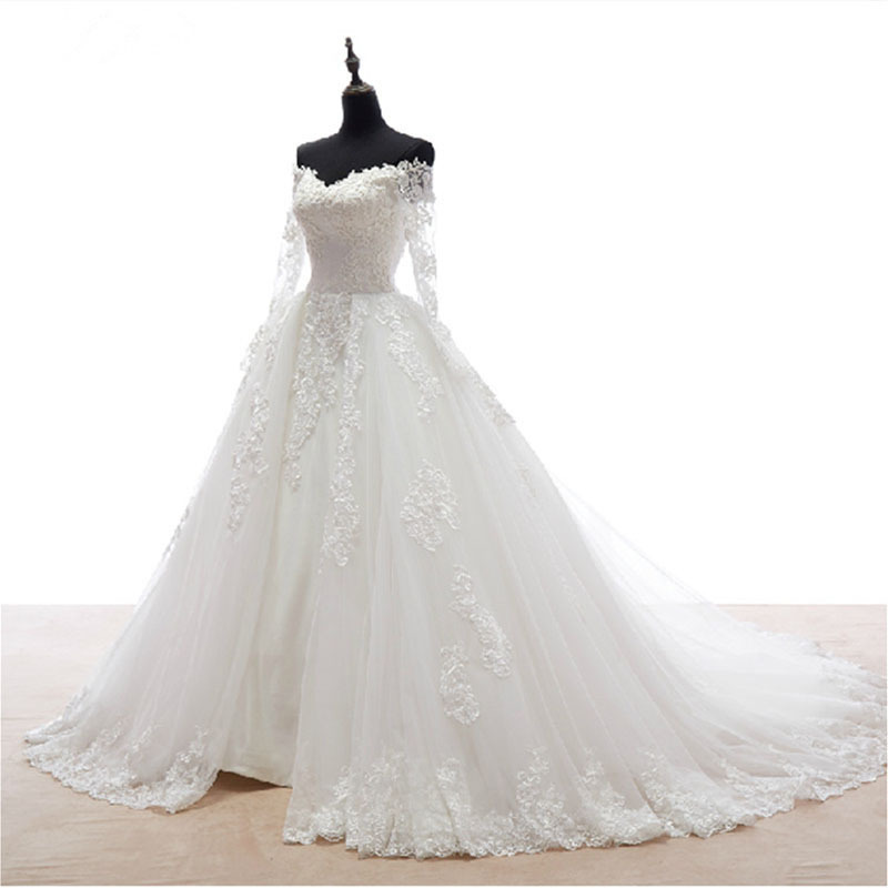 Modest Long Sleeve Wedding Dresses 2015 Romantic V Neck A Line Wedding Dress