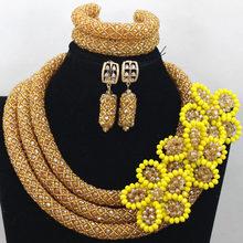 Manik-manik Perhiasan pernikahan Afrika Ungu Set 2017 Handmade Bunga Cluster Bros Pendant Kalung Set Gratis Pengiriman WD870(China)