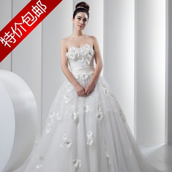 Sweet princess wedding dress tube top lace flower short trailing wedding dress