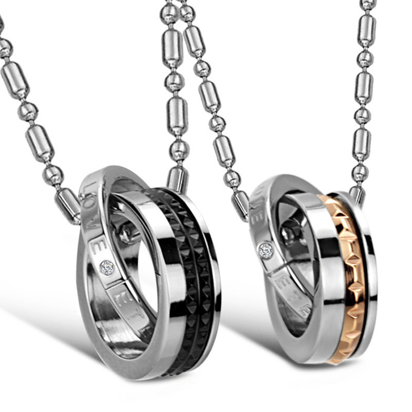 Eternal Love 2 1 Titanium Steel Couple Necklace Set Lover Anniversary Gift Fashion Jewelry Price - farnergo Store store