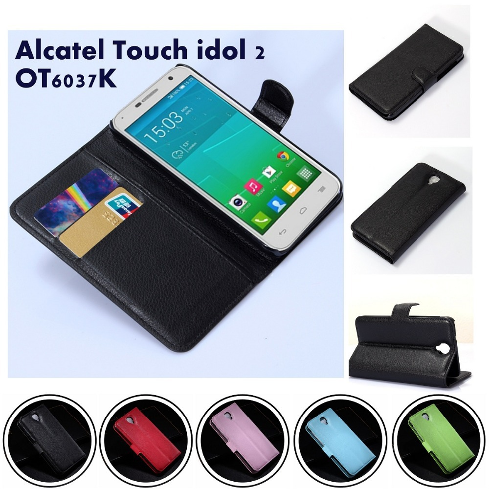 Litchi Pattern Wallet Credit Card Book Style Flip Stand Leather Case FOR Alcatel ONE TOUCH iDOL 2 OT6037K case - Win-WinTrade store