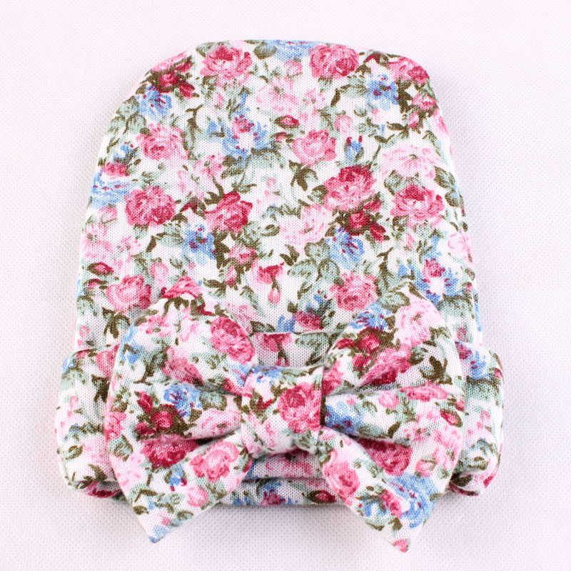 Floppy Bow Newborn Baby Hat Floral Cotton Toddler Girl Winter Beanies Hat Christmas Baby Accessories 0-6 Months SW107(China (Mainland))