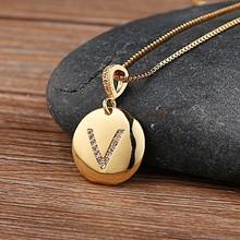 Top qualité femmes filles lettre initiale collier or 26 lettres breloques colliers pendentifs cuivre CZ bijoux collier personnalisé(China)