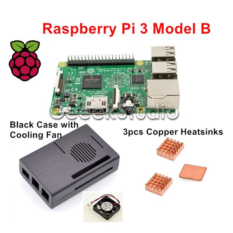 2016 Original Raspberry Pi 3 Model B 1GB RAM Quad Core WiFi & Bluetooth with ABS Black Case + Cooling Fan + Copper Heatsinks(China (Mainland))