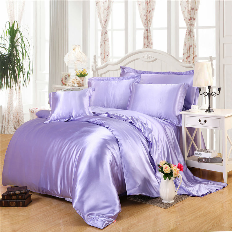light purple silk bedding sets super smooth feeling quilt cover linens Twin Queen King size comforter set sheets sets coverlet(China (Mainland))