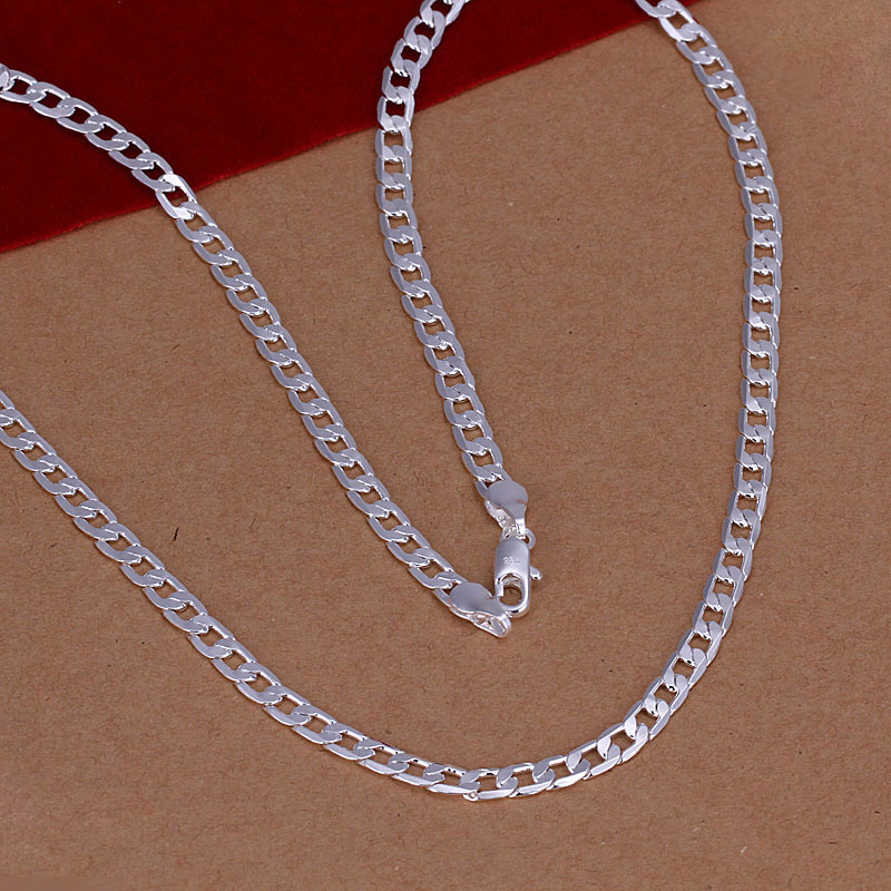 Hot Sale Mens Silver Chain Necklace Multi-size 925 Sterling Silver 4mm Necklaces Fashion Jewelry Boy Chains Xmas Gifts SPCN132(China (Mainland))