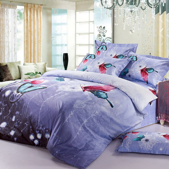 FREE SHIPPING 3D OIL PRINTED VIOLET PURPLE BEDDING SET BUTTERFLY ANIMALS BIRDS BED CLOTHES QUEEN COMFORTER/DUVET COVER SALE