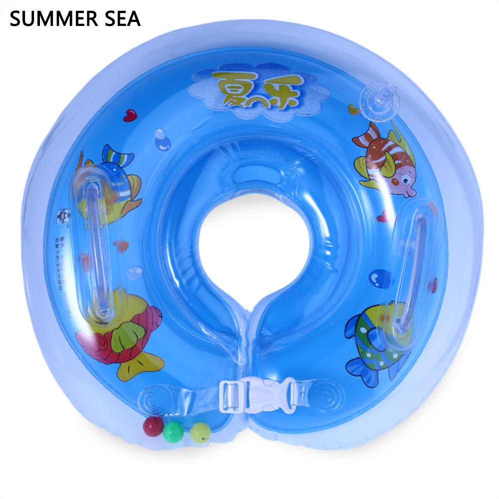 Cute Kids Child Baby Inflatable Swimming Ring 3 Colors Summer Sea Baby Adjustable Infant Swimming Neck Float Bathing Protector(China (Mainland))