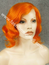 Free Shipping 12″ #3200 Wavy 150% Density Heat Friendly Synthetic Lace Front Fashion Lady Costume Orange Wig W20
