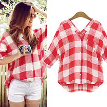 Spring And Summer 2015 Large Size Women Street Casual Blouse Red Plaid Shirt Women Blouses Blusas Femininas Plus Size Linen Tops(China (Mainland))