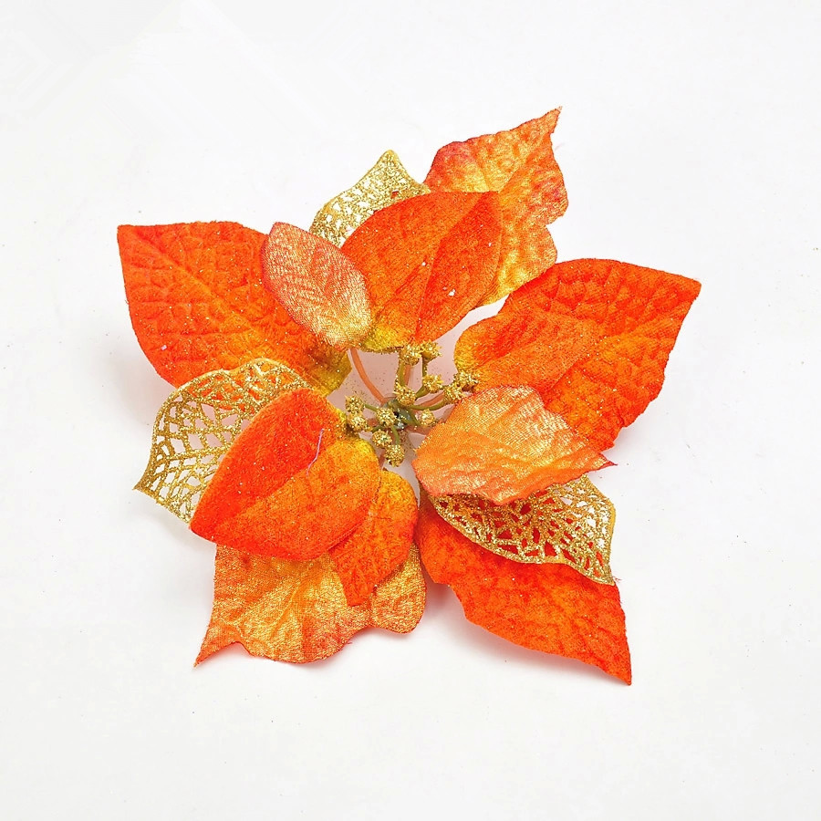 Newest - Christmas Flower 20cm Three Layer Christmas Flowers Orange High Quality Christmas Tree Suppliers(China (Mainland))