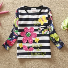 retail FLAGS kid brand 2015 new t shirt baby girl roupa infantil long sleeve t-shirt lace child clothing wear top nova  MIX